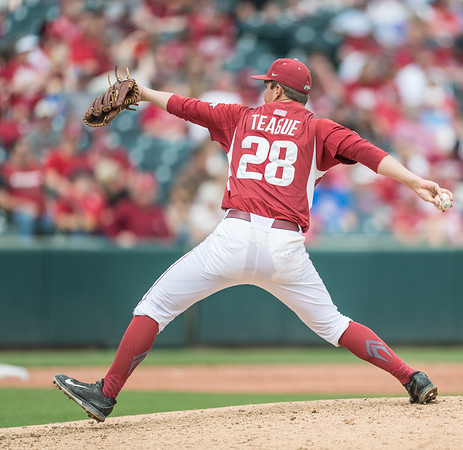 Arkansas pitcher James Teague (28) pitches during a baseball game between Arkansas and Texas A&M University on 4/30/2016.   (Alan Jamison, Nate Allen Sports Service)