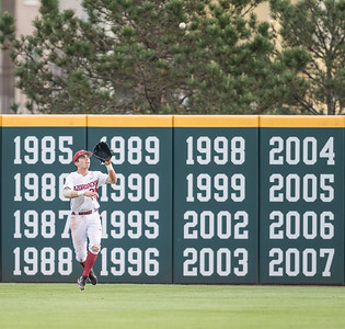 Arkansas catcher Carson Shaddy (20) catches a fly ball during a baseball game between Arkansas and Texas A&M University on 4/30/2016.   (Alan Jamison, Nate Allen Sports Service)