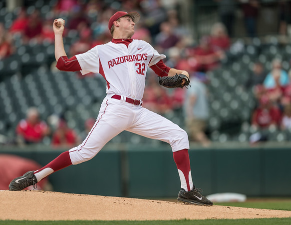 Arkansas pitcher Zach Jackson (32) pitches during a baseball game between Arkansas and Texas A&M University on 4/30/2016.   (Alan Jamison, Nate Allen Sports Service)