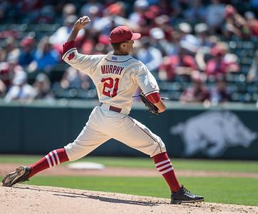 Arkansas pitcher Kacey Murphy (21) pitches during a baseball game between Arkansas and Texas A&M University on 5/1/2016.   (Alan Jamison, Nate Allen Sports Service)