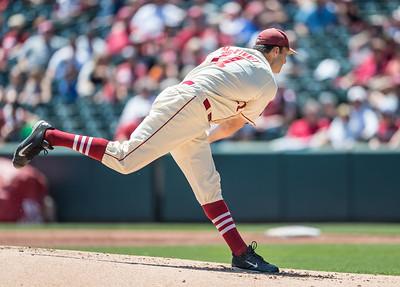 Arkansas pitcher Keaton McKinney (11) p[itches during a baseball game between Arkansas and Texas A&M University on 5/1/2016.   (Alan Jamison, Nate Allen Sports Service)