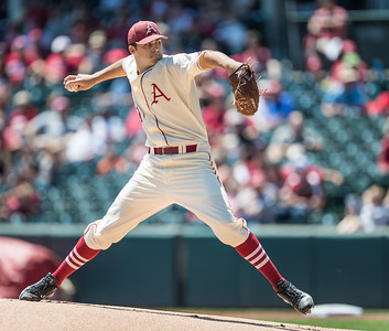 Arkansas pitcher Keaton McKinney (11) pitches during a baseball game between Arkansas and Texas A&M University on 5/1/2016.   (Alan Jamison, Nate Allen Sports Service)