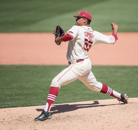 Arkansas pitcher Isaiah Campbell (55) pitches during a baseball game between Arkansas and Texas A&M University on 5/1/2016.   (Alan Jamison, Nate Allen Sports Service)