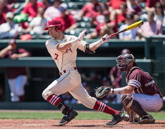 Arkansas outfielder Luke Bonfield (17) at bat during a baseball game between Arkansas and Texas A&M University on 5/1/2016.   (Alan Jamison, Nate Allen Sports Service)