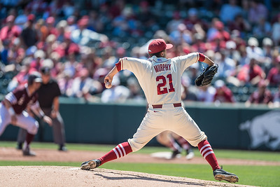 Arkansas pitcher Kacey Murphy (21) pitches during a baseball game between Arkansas and Texas A&M University on 5/1/2016.   (Alan Jamison, Nate Allen Sports Service)