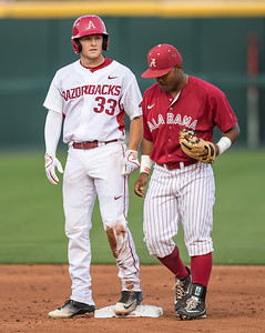 Arkansas Razorbacks catcher Grant Koch (33) hit a pair of doubles during a baseball game between Alabama and Arkansas on May 13, 2016.   (Alan Jamison)