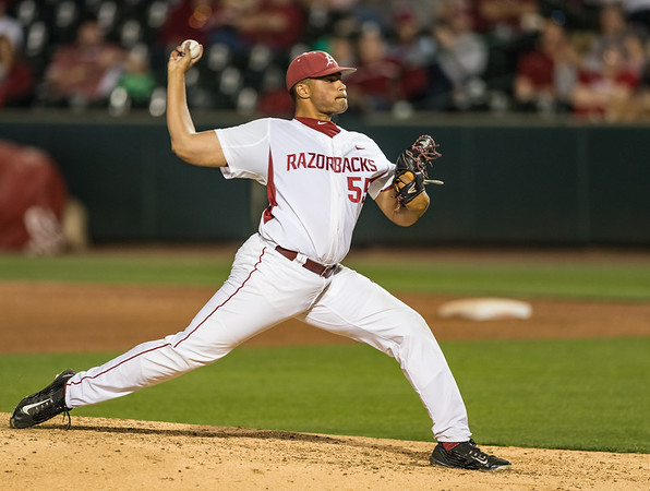 Arkansas Razorbacks pitcher Isaiah Campbell (55) pitches in relief during a baseball game between Alabama and Arkansas on May 13, 2016.   (Alan Jamison)