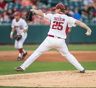 Arkansas Razorbacks pitcher Dominic Taccolini (25) pitches during a baseball game between Alabama and Arkansas on May 13, 2016.   (Alan Jamison)