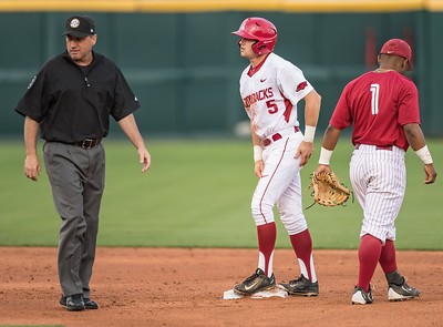 Arkansas Razorbacks infielder Cody Scroggins (5) on second base with a double during a baseball game between Alabama and Arkansas on May 13, 2016.   (Alan Jamison)