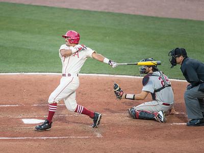 Arkansas Razorbacks infielder Michael Bernal (3) at bat during a baseball game between Alabama and Arkansas on May 14, 2016.   (Alan Jamison)