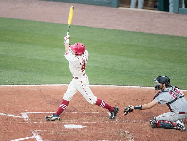 Arkansas Razorbacks outfielder Clark Eagan (9) hits during a baseball game between Alabama and Arkansas on May 14, 2016.   (Alan Jamison)