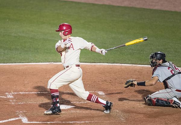 Arkansas Razorbacks infielder Cullen Gassaway (29) at bat during a baseball game between Alabama and Arkansas on May 14, 2016.   (Alan Jamison)