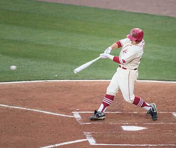 Arkansas Razorbacks infielder Cullen Gassaway (29) hits during a baseball game between Alabama and Arkansas on May 14, 2016.   (Alan Jamison)