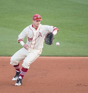Arkansas Razorbacks infielder Cullen Gassaway (29) fielding during a baseball game between Alabama and Arkansas on May 14, 2016.   (Alan Jamison)