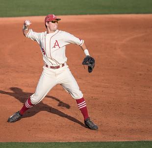 Arkansas Razorbacks outfielder Clark Eagan (9) fielding during a baseball game between Alabama and Arkansas on May 14, 2016.   (Alan Jamison)