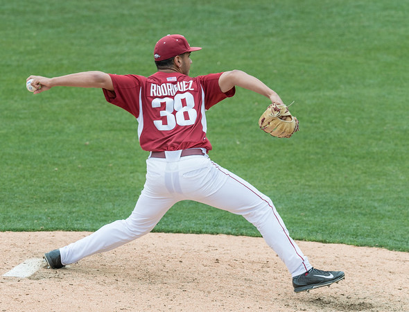Arkansas Razorbacks pitcher Jordan Rodriguez (38) pitches in relief during a baseball game between Alabama and Arkansas on May 15,  2016.   (Alan Jamison, Nate Allen Sports Service)