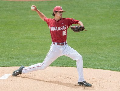 Arkansas Razorbacks pitcher Blaine Knight (16) pitches during a baseball game between Alabama and Arkansas on May 15,  2016.   (Alan Jamison, Nate Allen Sports Service)