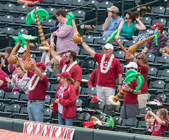 "Fans in Section 101 ""Nomura Island"" celebrate Nomura's home run during a baseball game between Alabama and Arkansas on May 15,  2016.   (Alan Jamison, Nate Allen Sports Service)"