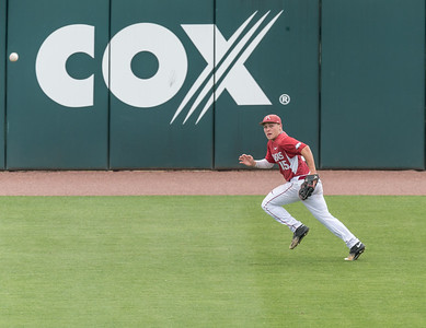 Arkansas Razorbacks outfielder Jake Arledge (15) runs down a base hit during a baseball game between Alabama and Arkansas on May 15,  2016.  (Alan Jamison, Nate Allen Sports Service)