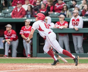 Arkansas infielder Hunter Wilson (6) bats during the opening day baseball game between Arkansas and Miami (Ohio) on Friday. 2/17/2017.  (Alan Jamison, Nate Allen Sports Service)