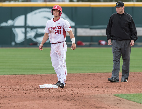 Arkansas outfielder Dominic Fletcher (28) looks for a sign during the opening day baseball game between Arkansas and Miami (Ohio) on Friday. 2/17/2017.  (Alan Jamison, Nate Allen Sports Service)