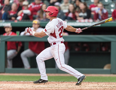 Arkansas outfielder Dominic Fletcher (28) bats during the opening day baseball game between Arkansas and Miami (Ohio) on Friday. 2/17/2017.  (Alan Jamison, Nate Allen Sports Service)