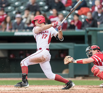 Arkansas outfielder Luke Bonfield (17) hits during the opening day baseball game between Arkansas and Miami (Ohio) on Friday. 2/17/2017.  (Alan Jamison, Nate Allen Sports Service)