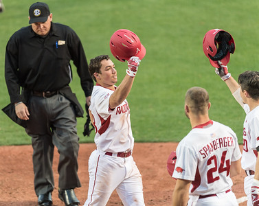 Arkansas outfielder Dominic Fletcher (28) celebrates his home run during the opening day baseball game between Arkansas and Miami (Ohio) on Friday. 2/17/2017.  (Alan Jamison, Nate Allen Sports Service)