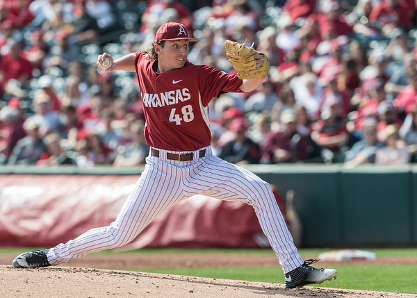 Arkansas pitcher Trevor Stephan (48) pitches during a baseball game between Arkansas and Miami (Ohio) on Saturday. 2/18/2017.  (Alan Jamison, Nate Allen Sports Service)