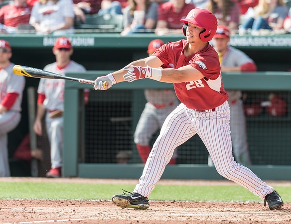 Dominic Fletcher bats during a baseball game between Arkansas and Miami (Ohio) on Saturday. 2/18/2017.  (Alan Jamison, Nate Allen Sports Service)
