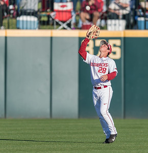Arkansas outfielder Dominic Fletcher (28) catches a long fly ball during a baseball game between Arkansas and Rhode Island on Friday, 3/10/2017.  (Alan Jamison, Nate Allen Sports Service)
