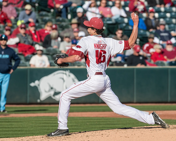 Arkansas pitcher Blaine Knight (16) pitches during a baseball game between Arkansas and Rhode Island on Friday, 3/10/2017.  (Alan Jamison, Nate Allen Sports Service)