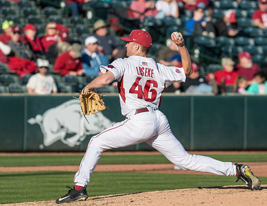Arkansas pitcher Barrett Loseke (46) pitches during a baseball game between Arkansas and Rhode Island on Friday, 3/10/2017.  (Alan Jamison, Nate Allen Sports Service)