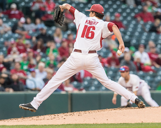 Arkansas pitcher Blaine Knight (16) pitches during a baseball game between Arkansas and Mississippi State on Friday, 3/17/2017.  (Alan Jamison, Nate Allen Sports Service)