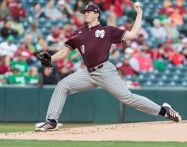 Mississippi St. pitcher Konnor Pilkington (48) during a baseball game between Arkansas and Mississippi State on Friday, 3/17/2017.  (Alan Jamison, Nate Allen Sports Service)