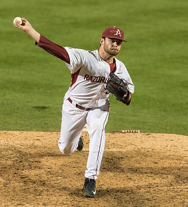Arkansas pitcher Cannon Chadwick (36) pitches in relief during a baseball game between Arkansas and Mississippi State on Friday, 3/17/2017.  (Alan Jamison, Nate Allen Sports Service)