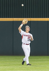 Arkansas outfielder Dominic Fletcher (28) catches a long fly ball during a baseball game between Arkansas and Mississippi State on Friday, 3/17/2017.  (Alan Jamison, Nate Allen Sports Service)