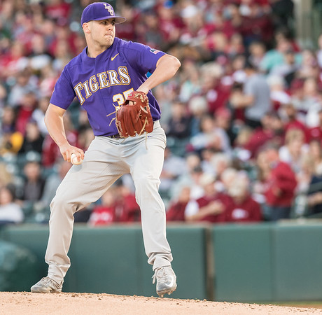 LSU pitcher Alex Lange (35) pitches during a baseball game between Arkansas and LSU on Friday, 4/7/2017.  (Alan Jamison, Nate Allen Sports Service)