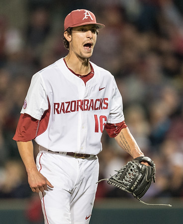 Arkansas pitcher Blaine Knight (16) celebrates a strikeout during a baseball game between Arkansas and LSU on Friday, 4/7/2017.  (Alan Jamison, Nate Allen Sports Service)