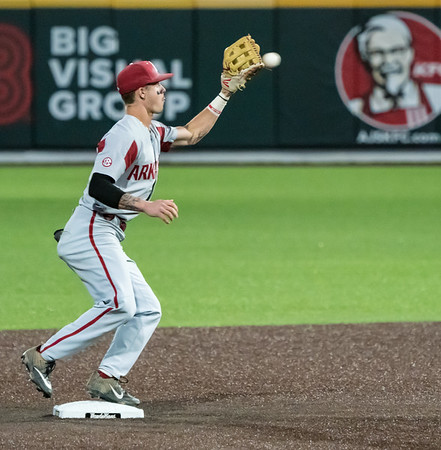 Casey Martin completes the first half of a double play during a baseball game between the Arkansas Razorbacks and the Vanderbilt Commodores on Friday, April 12, 2019, at Hawkins Stadium.  (Alan Jamison, Nate Allen Sports Service)