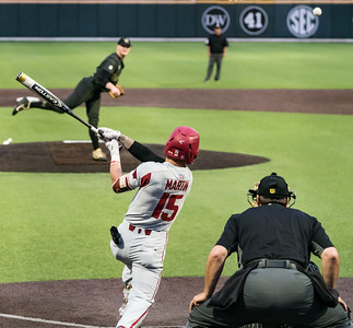 Casey Martin singles to right field during the first inning of a  baseball game between the Arkansas Razorbacks and the Vanderbilt Commodores on Friday, April 12, 2019, at Hawkins Stadium.  (Alan Jamison, Nate Allen Sports Service)