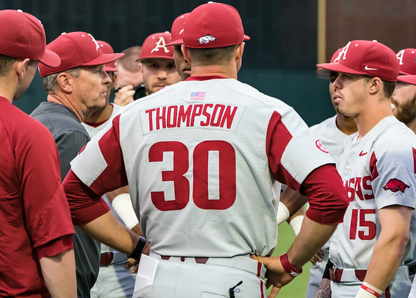 Coach Van Horn needs with the team before a baseball game between the Arkansas Razorbacks and the Vanderbilt Commodores on Friday, April 12, 2019, at Hawkins Stadium.  (Alan Jamison, Nate Allen Sports Service)