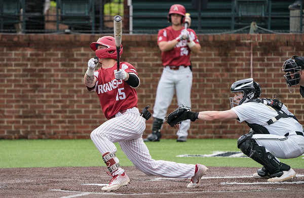 Casey Martin hits during a baseball game between the Arkansas Razorbacks and the Vanderbilt Commodores on Saturday, April 13, 2019, at Hawkins Stadium.  (Alan Jamison, Nate Allen Sports Service)