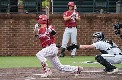 Casey Martin hits during a baseball game between the Arkansas Razorbacks and the Vanderbilt Commodores on Saturday, April 13, 2019, at Hawkins Stadium.  (Alan Jamison, Nate Allen Sports Service)