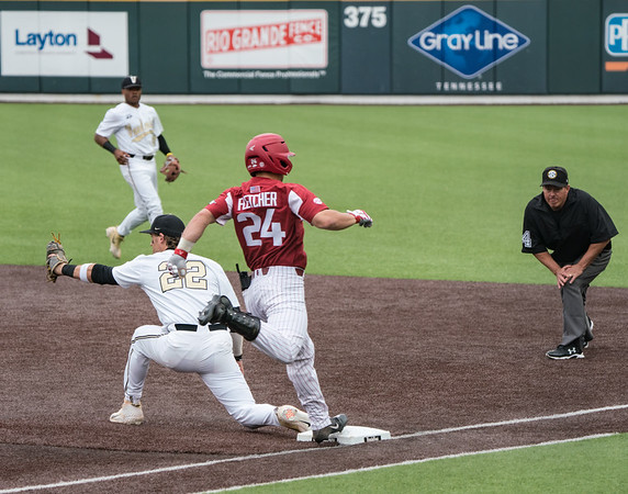 Dominic Fletcher almost beats a ball to first during a baseball game between the Arkansas Razorbacks and the Vanderbilt Commodores on Saturday, April 13, 2019, at Hawkins Stadium.  (Alan Jamison, Nate Allen Sports Service)