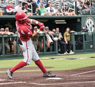 Christian Franklin hits during a baseball game between the Arkansas Razorbacks and the Vanderbilt Commodores on Sunday, April 14, 2019, at Hawkins Stadium.  (Alan Jamison, Nate Allen Sports Service)
