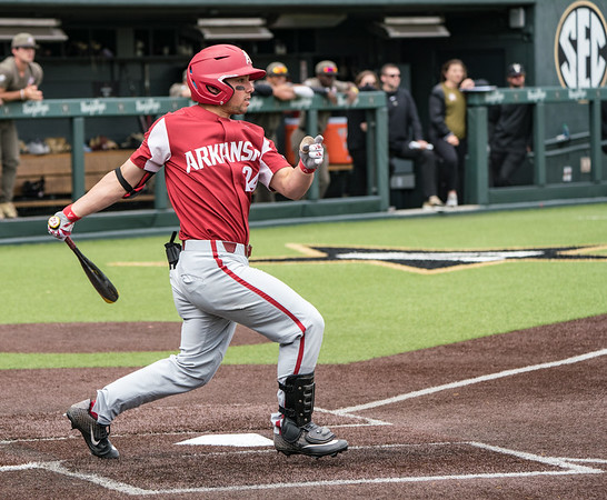 Dominic Fletcher hits during a baseball game between the Arkansas Razorbacks and the Vanderbilt Commodores on Sunday, April 14, 2019, at Hawkins Stadium.  (Alan Jamison, Nate Allen Sports Service)