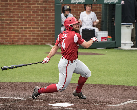 Trevor Ezell during a baseball game between the Arkansas Razorbacks and the Vanderbilt Commodores on Sunday, April 14, 2019, at Hawkins Stadium.  (Alan Jamison, Nate Allen Sports Service)