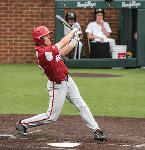 Jacob Nesbit hits during a baseball game between the Arkansas Razorbacks and the Vanderbilt Commodores on Sunday, April 14, 2019, at Hawkins Stadium.  (Alan Jamison, Nate Allen Sports Service)