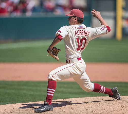 Arkansas pitcher Josh Alberius (10) pitches during a baseball game between Arkansas and Missouri on 4-3-16.  (Alan Jamison, Nate Allen Sports Service)